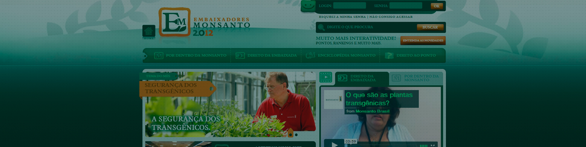 Site Embaixadores Monsanto
